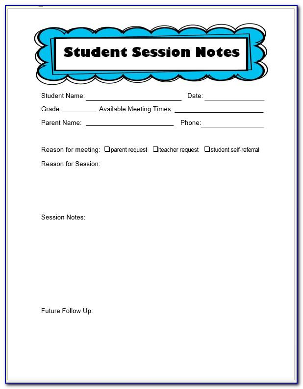 School Counseling Session Notes Template
