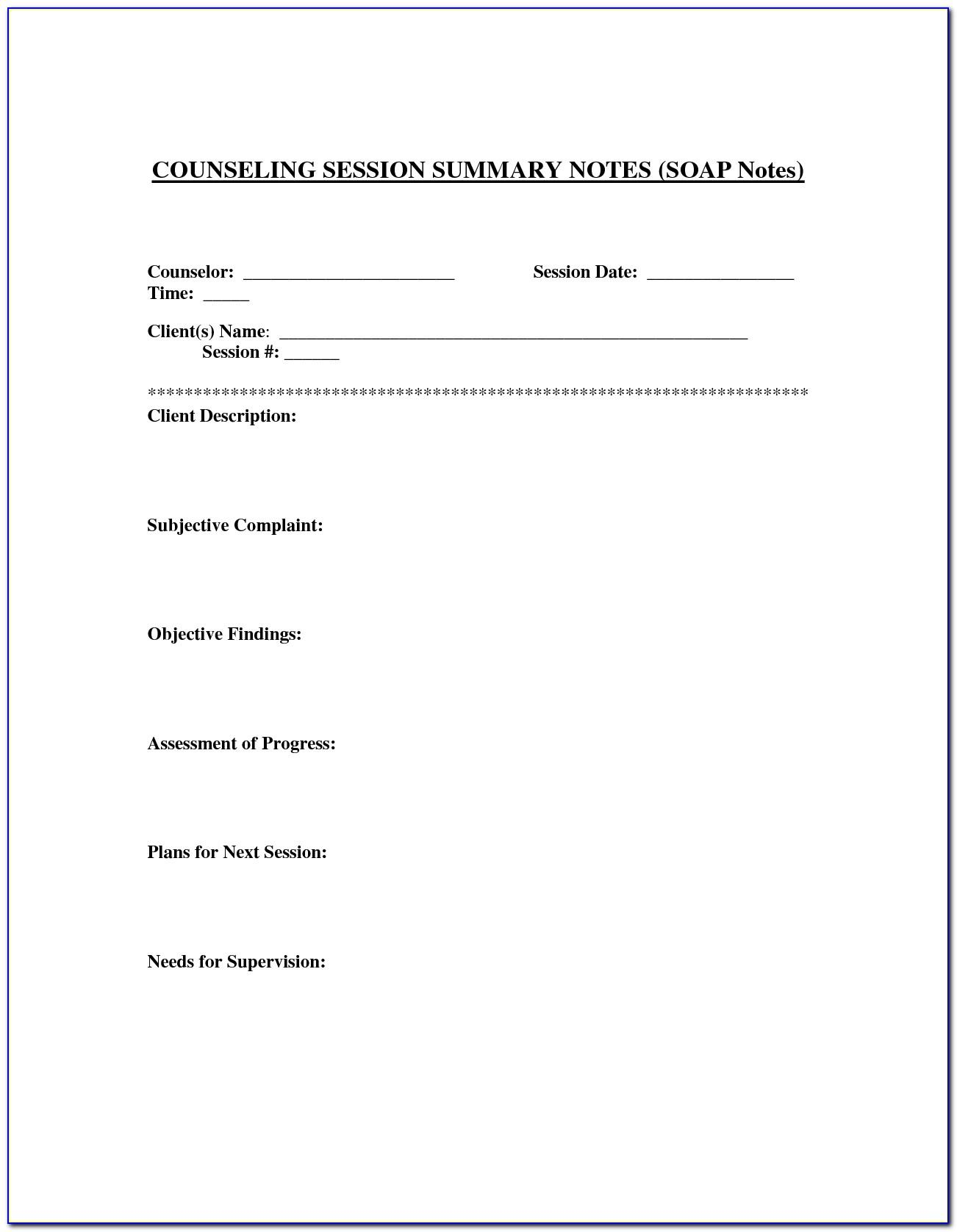 School Counselor Case Notes Template