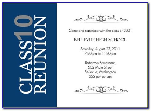 School Reunion Invitation Samples