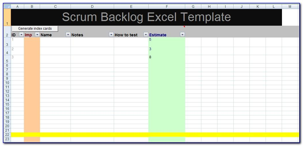 Scrum Excel Spreadsheet Template