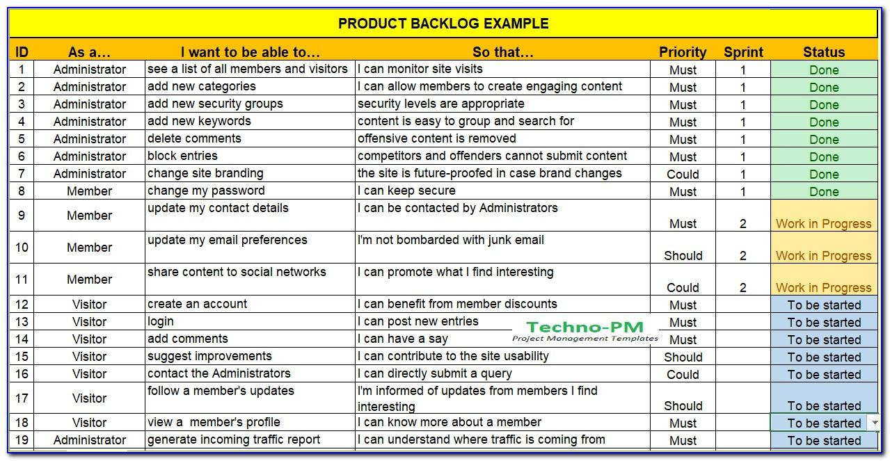 Scrum Product Backlog Template Download