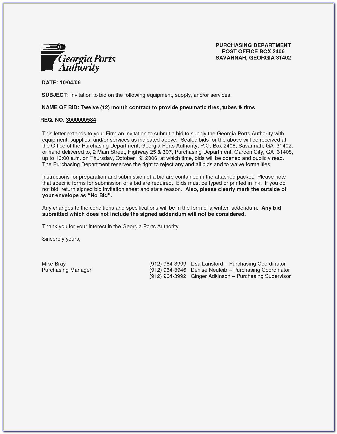 Sealed Bid Offer Letter Template