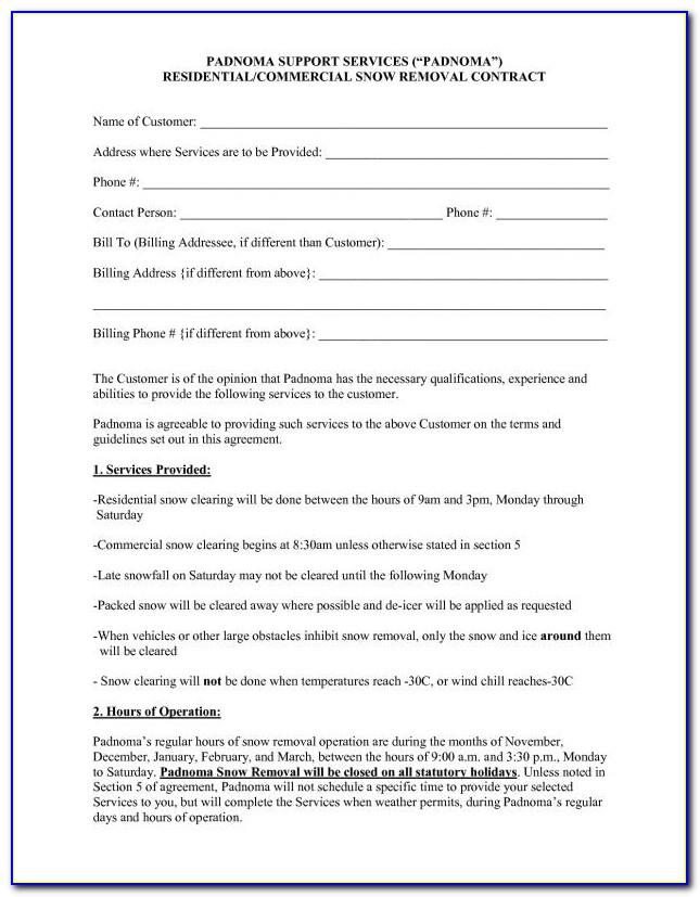 Seasonal Snow Removal Contract Template