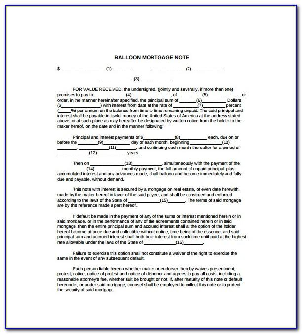 Second Mortgage Note Form