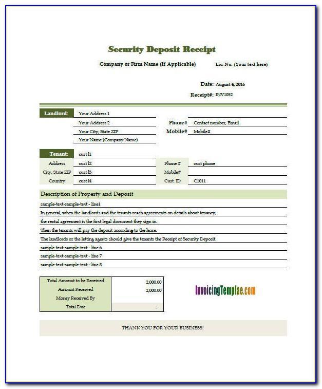 Security Deposit Receipt Template Uk