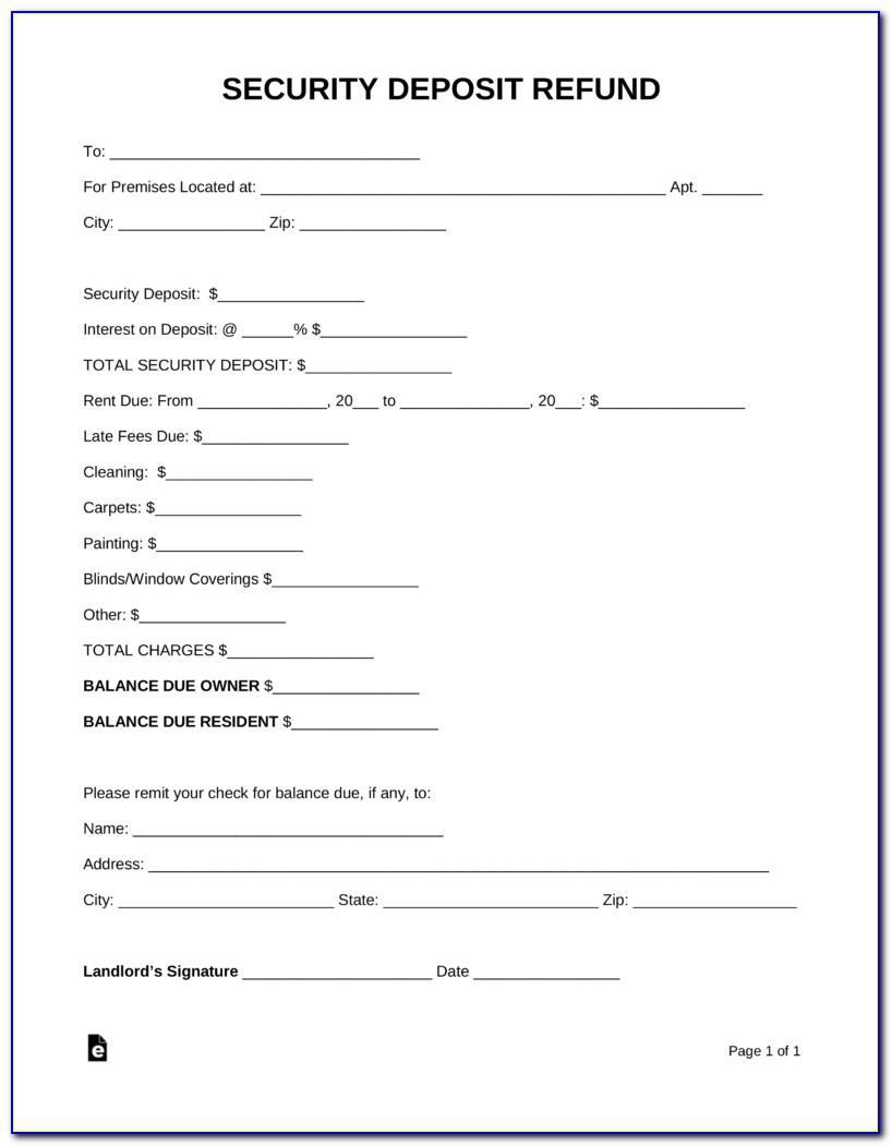 Security Deposit Refund Letter Sample