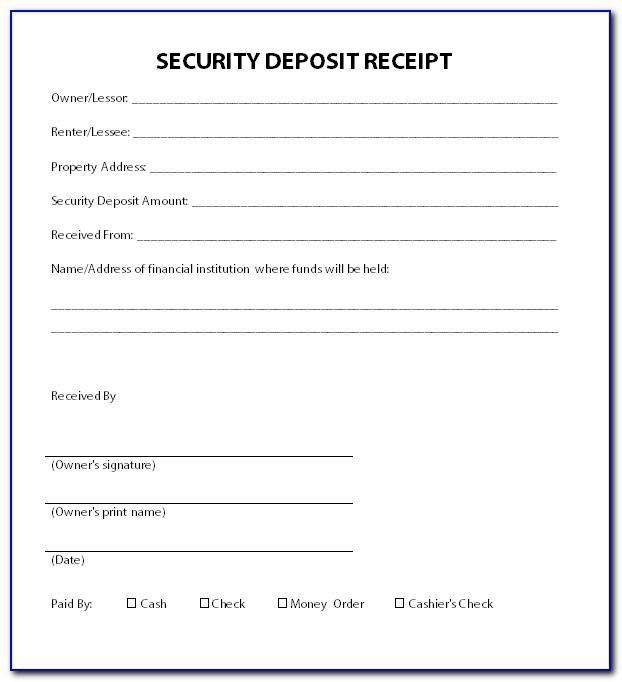 Security Deposit Return Receipt Template