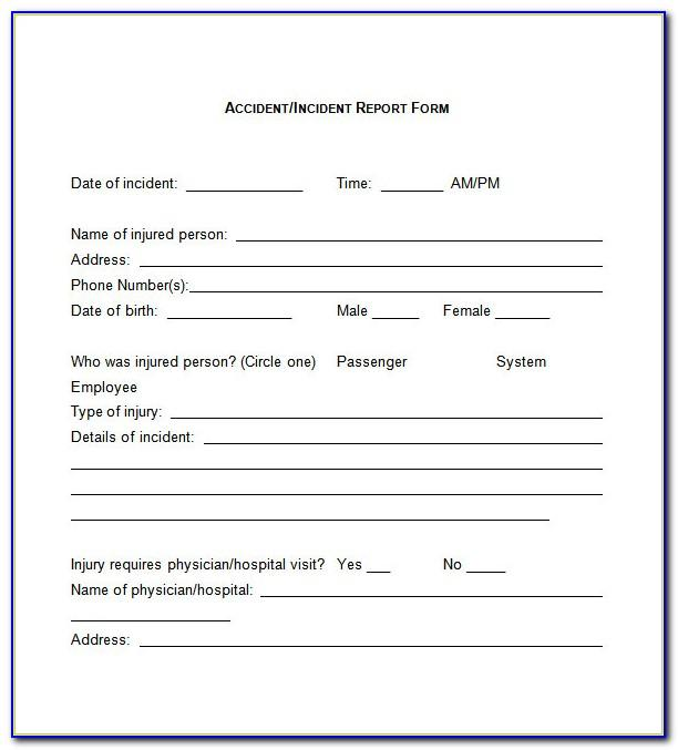 Security Guard Incident Report Form Template