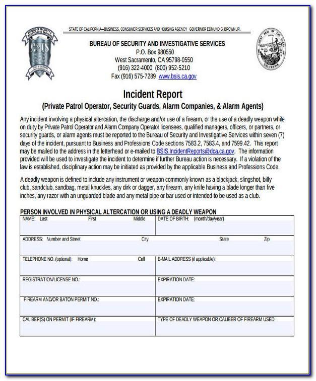 Security Guard Incident Report Format