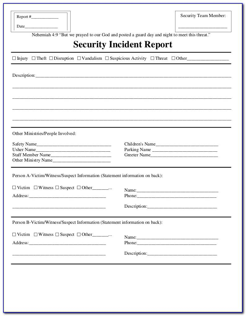 Security Guard Incident Report Sample In The Philippines