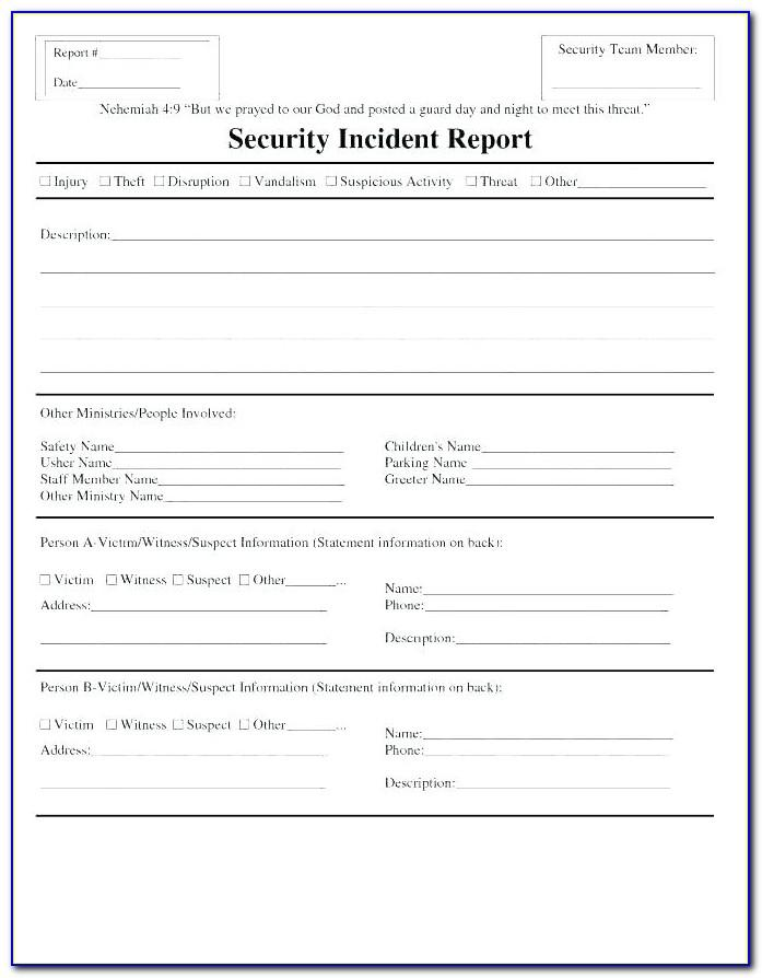 Security Incident Report Form Pdf