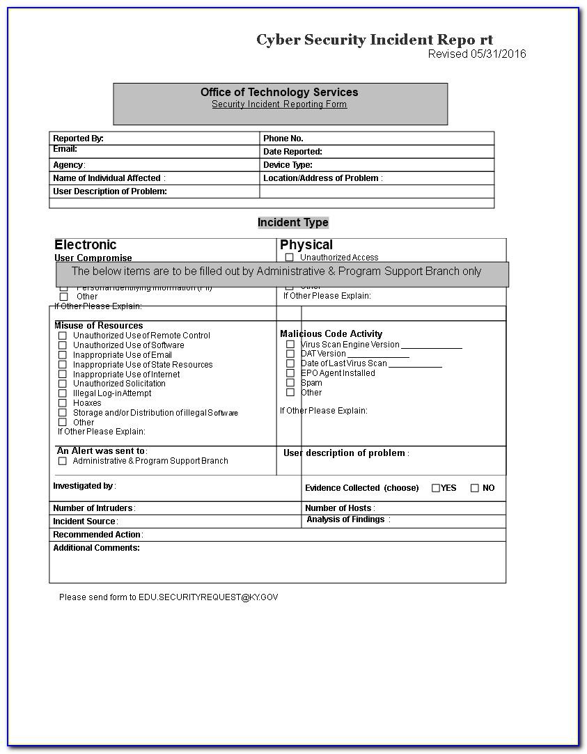 Security Incident Report Template Excel