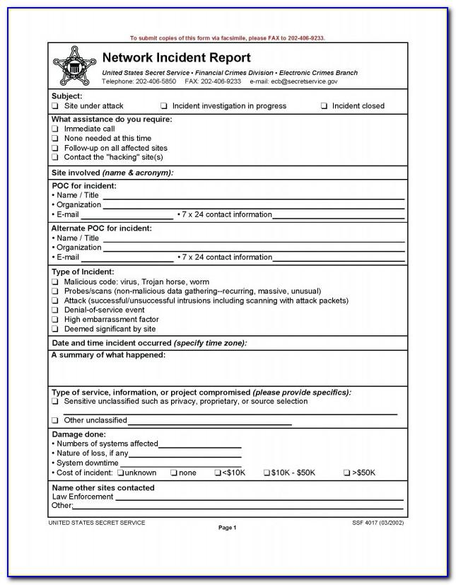 Security Incident Report Template Nist