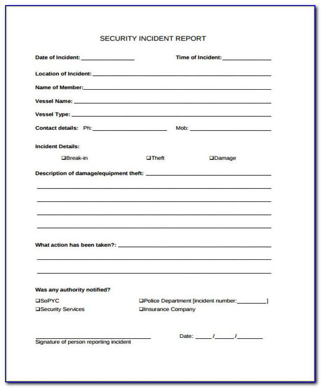 Security Officer Incident Report Examples