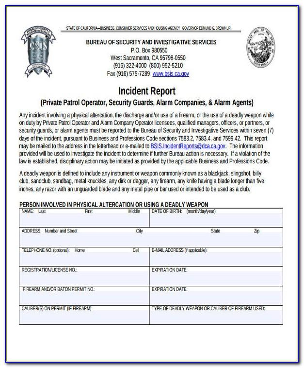 Security Officer Incident Report Sample