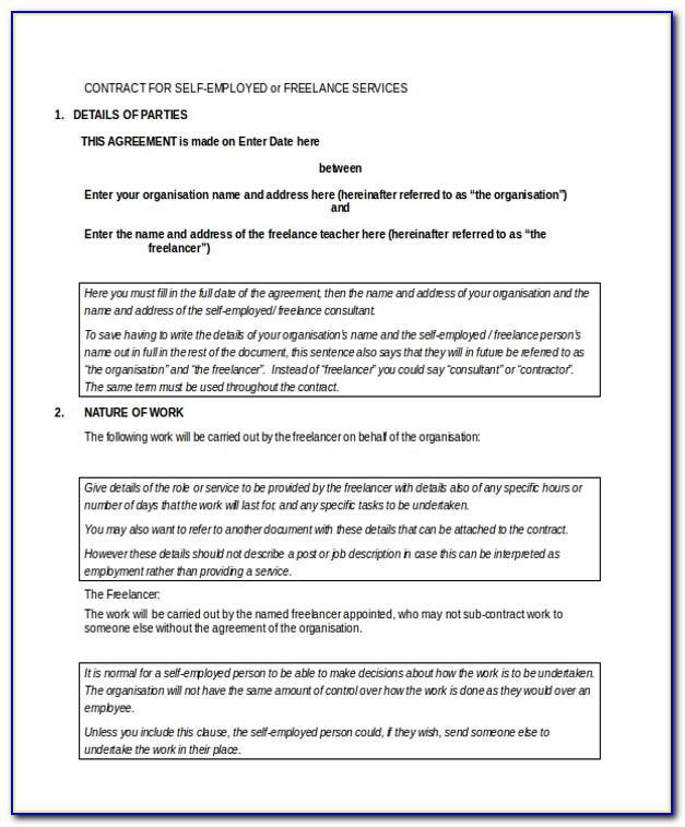Self Employed Contract Sample Hk