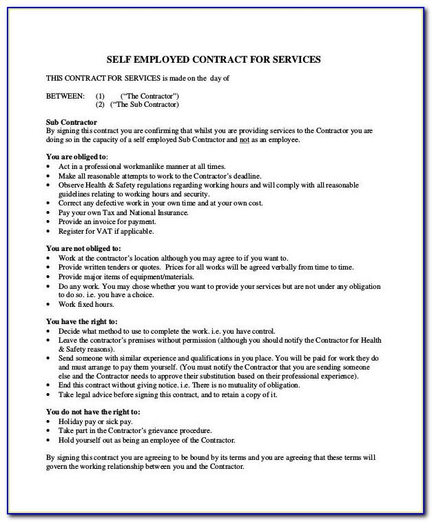 Self Employed Contract Template Pdf