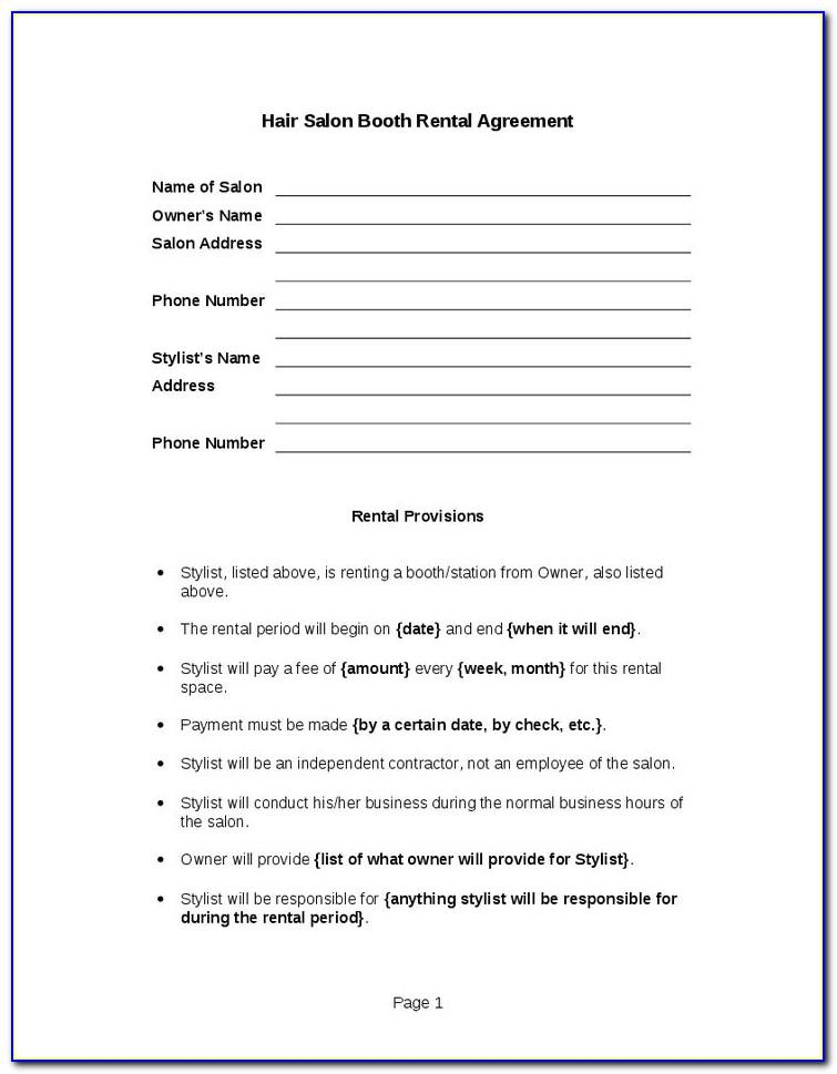 Self Employed Hairdresser Contract Template