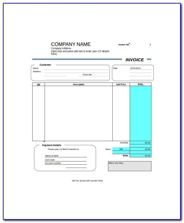 Self Employed Invoice Template Uk Pdf