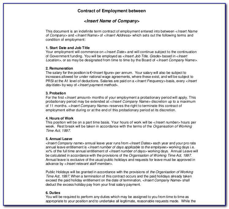 Self Employment Agreement Form