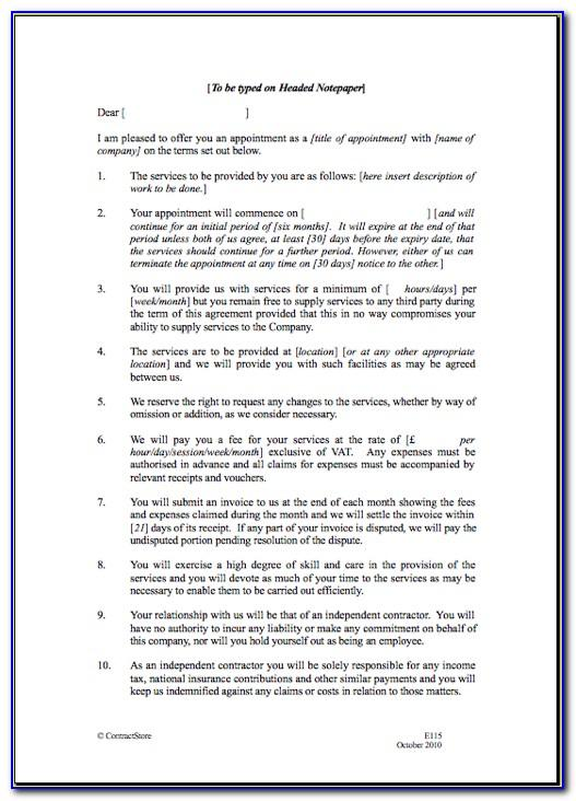 Self Employment Construction Contract Template