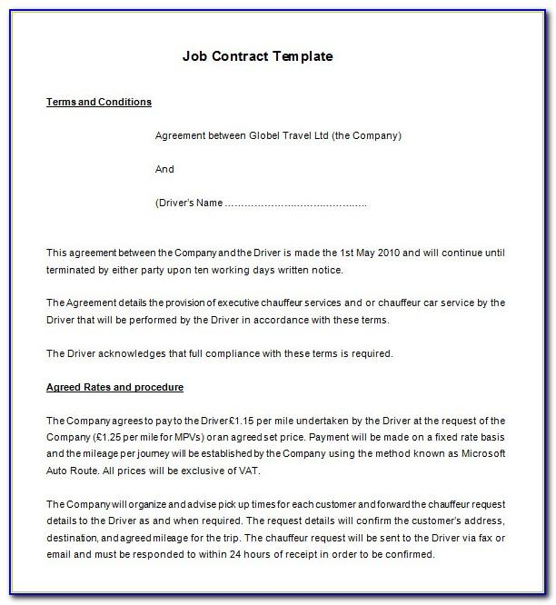 Self Employment Contracts Templates Free