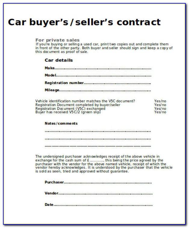 Selling A Car Agreement Form