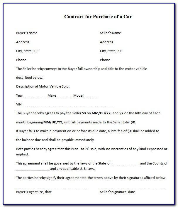 Selling A Car Agreement Template