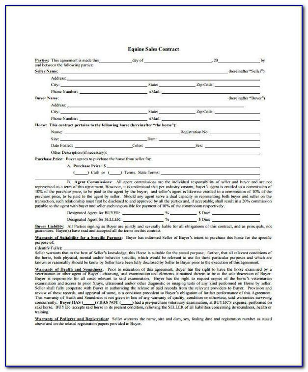 Selling A Used Car Contract Template