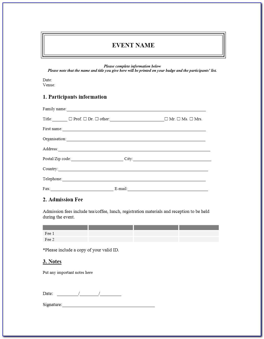 Seminar Registration Form Template Word