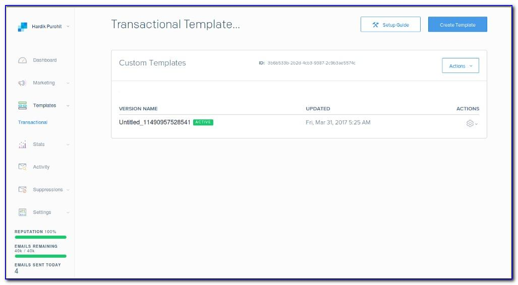 Sendgrid Create Single Template Email