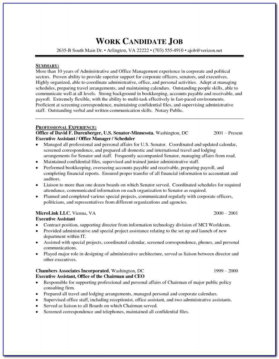 Senior Executive Assistant Resume Template