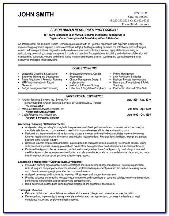 Senior Hr Executive Resume Format
