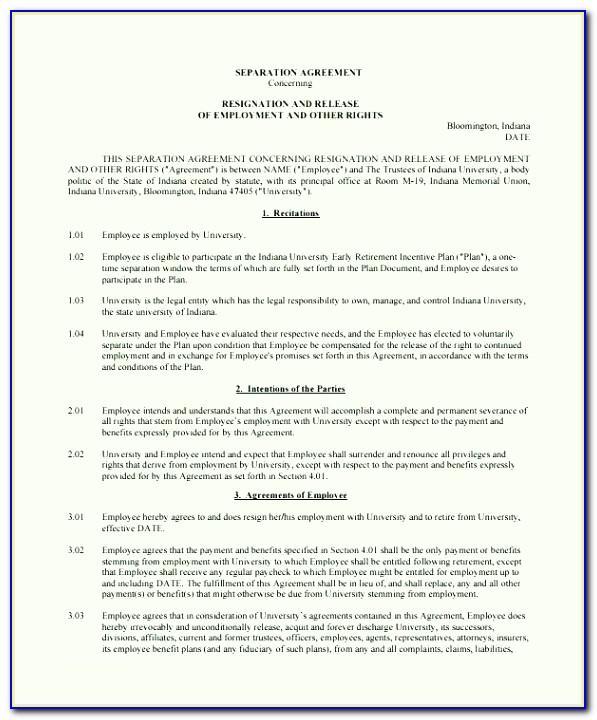 Separation Agreement Form Uk