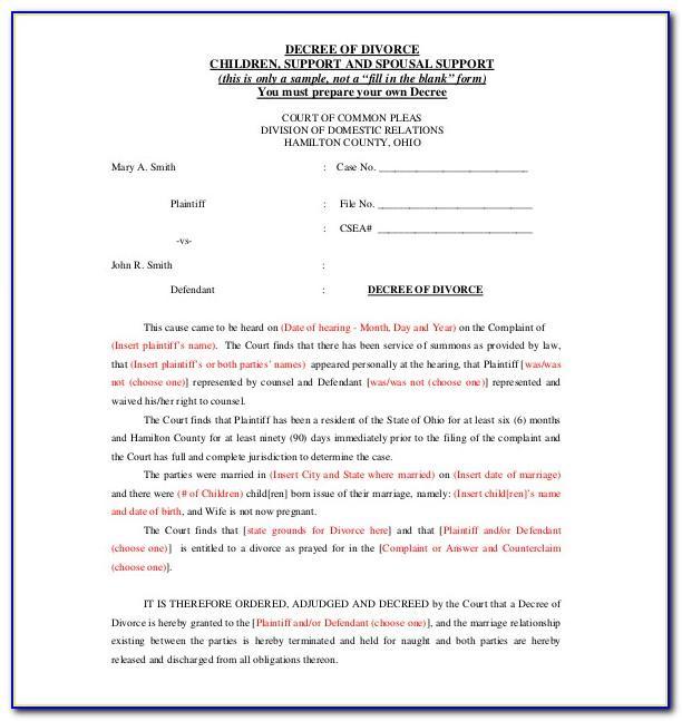 Separation Agreement Template Ontario Pdf
