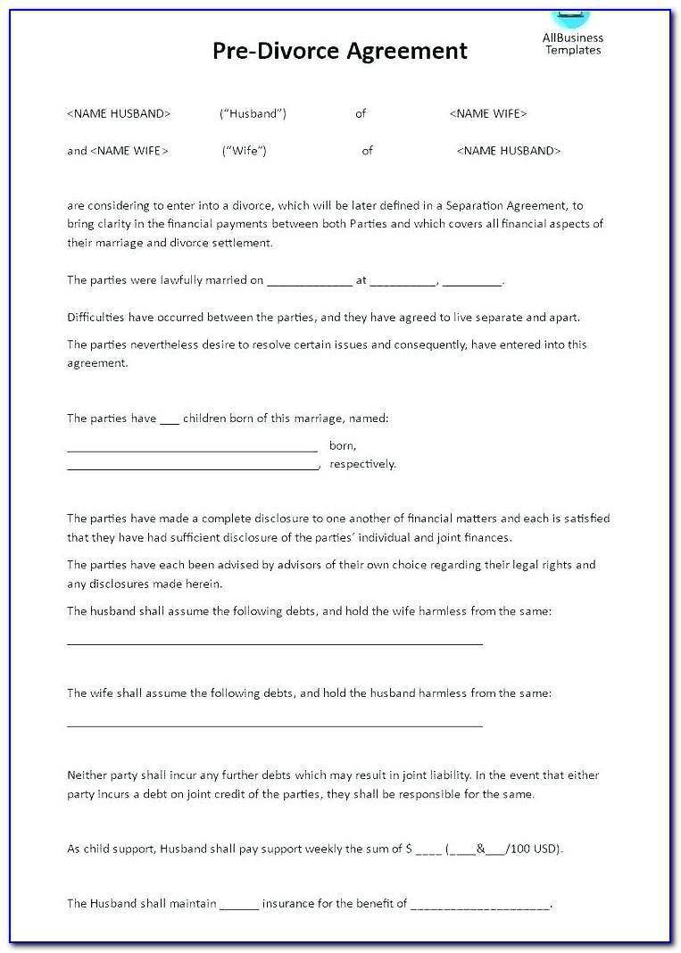 Separation Agreement Template Scotland Free