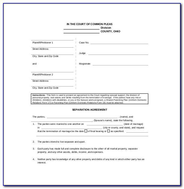 Separation Agreement Template Uk Pdf