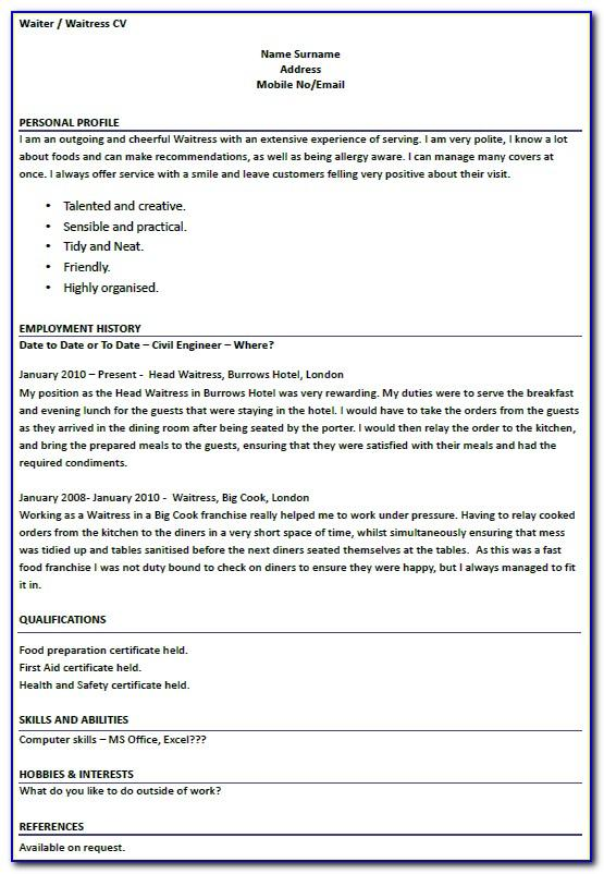 Server Resume Templates Word