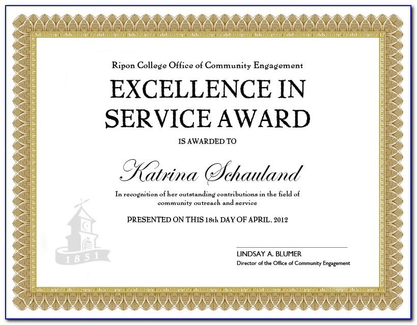 Service Award Certificate Format