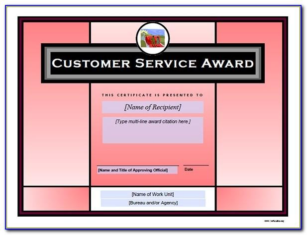Service Award Certificate Sample