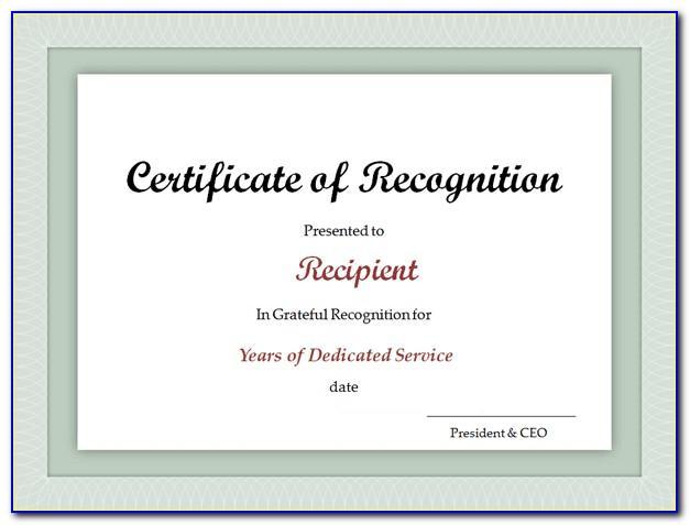 Service Award Certificate Template Free