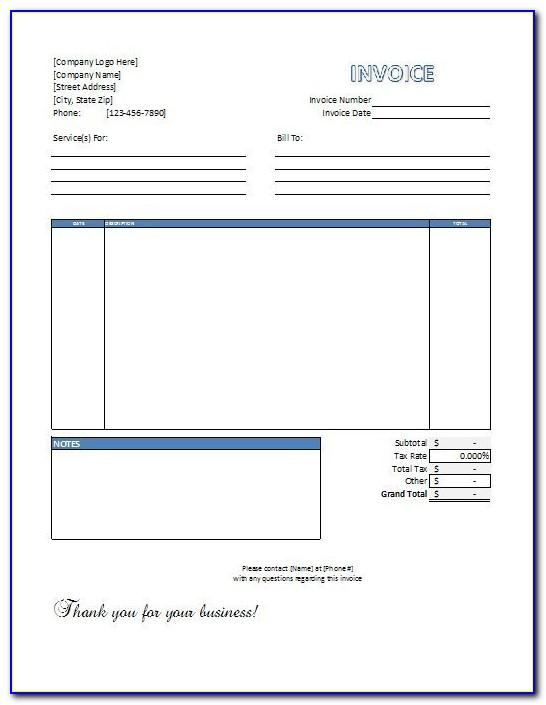 Service Invoice Template Word 2003