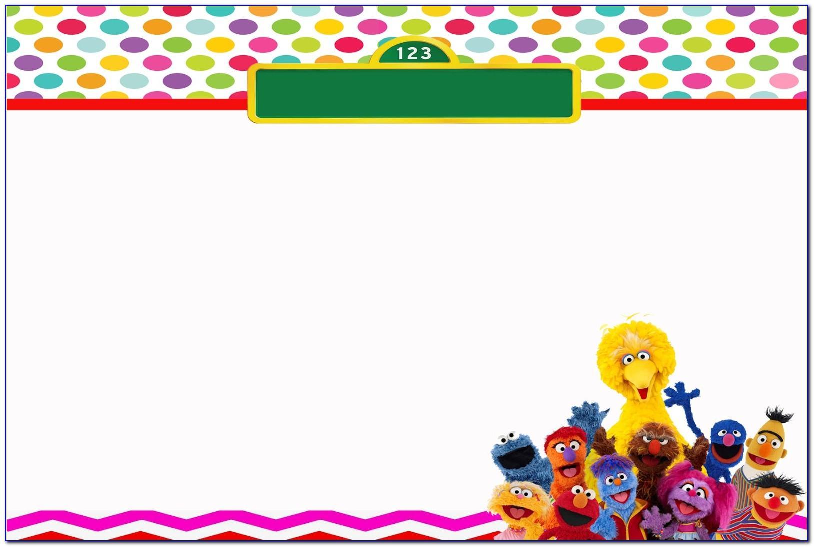 Sesame Street 1 St Birthday Invitation Template