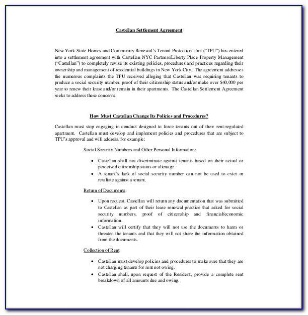Settlement Agreement Letter Example