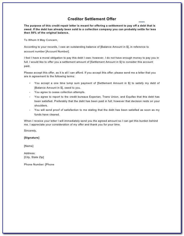 Settlement Offer Letter Example