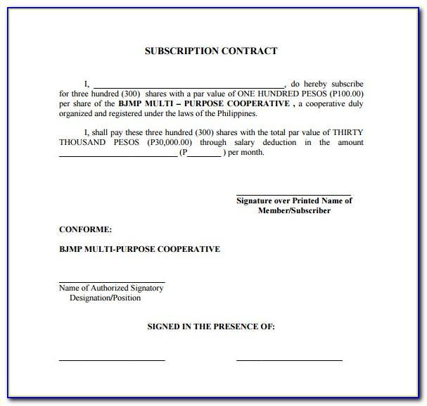 Share Subscription Agreement Template Australia