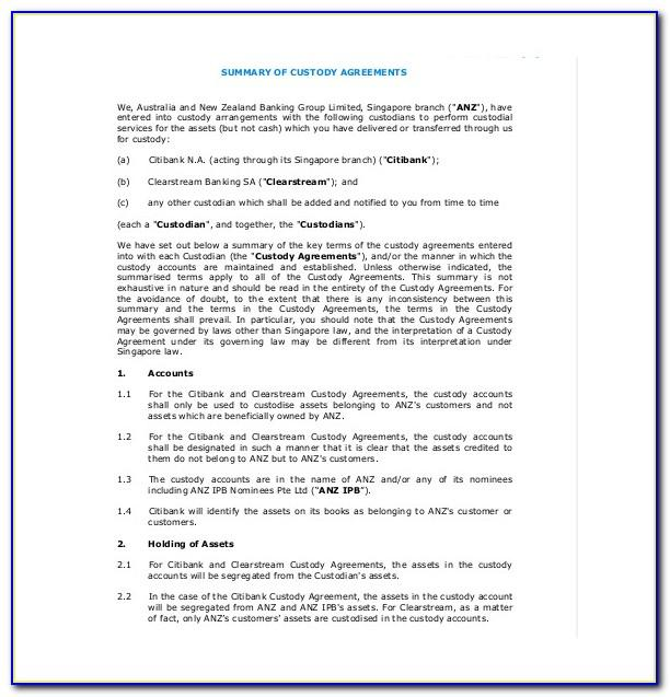 Shared Custody Agreement Template Nz