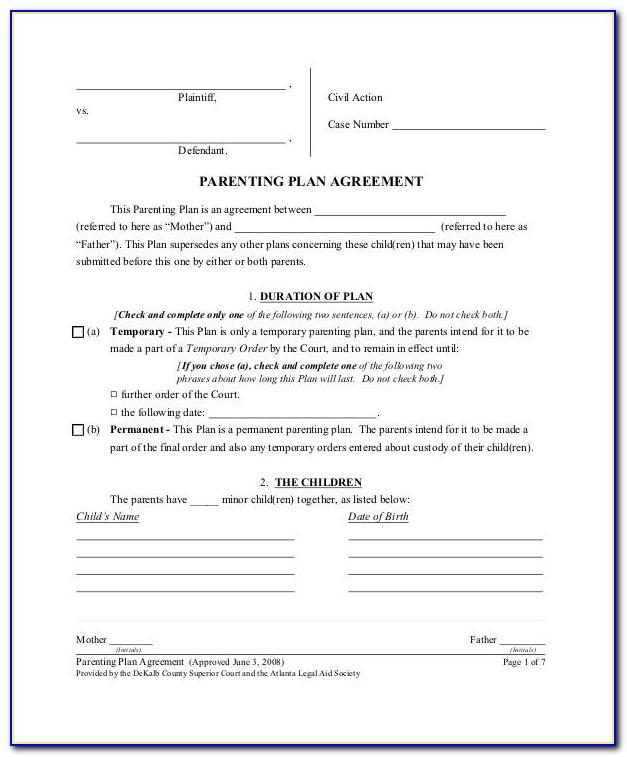 Shared Custody Agreement Template Ohio
