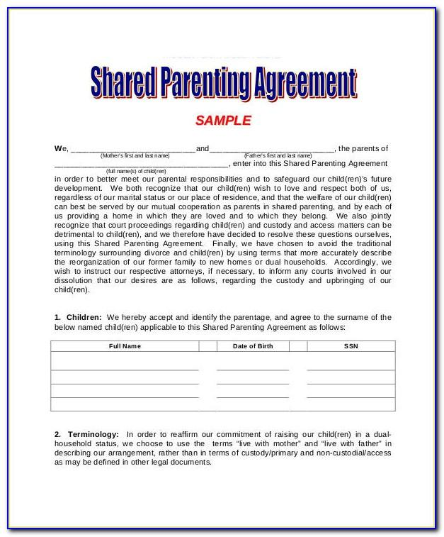 Shared Custody Agreement Template Uk