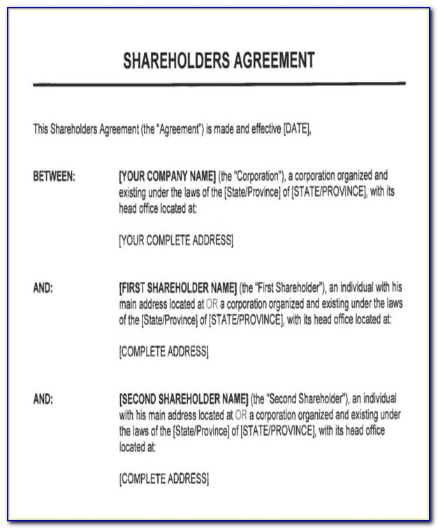 Shareholder Agreement Template Free Download Australia